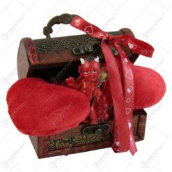 Cutie decorativa cu inimi si dracusor 14x7 CM