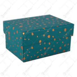 Cutie cadou cu buline aurii 11x8 CM - Se vinde 12 buc/bax