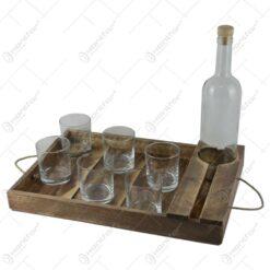 Tava lemn cu o sticla si Set 6 pahare de vin