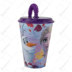 Pahar pentru copii cu capac si pai realizat din plastic - 430 ml