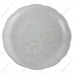 Set 12 farfurii din sticla cu trandafiri 22 CM