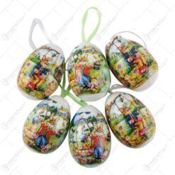 Set 6 oua colorate pentru Pasti - Design cu iepurasi