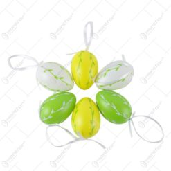Set 6 oua colorate pentru Pasti - Design cu frunze pictate