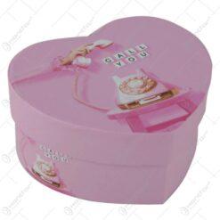 Cutie cadou inimioara Pink Love 11 CM - Se vinde 12 buc/bax