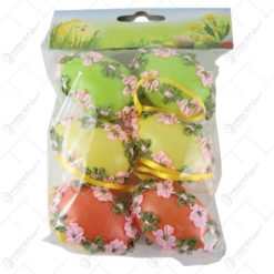 Set 6 oua colorate pentru Pasti - Design cu flori din textil