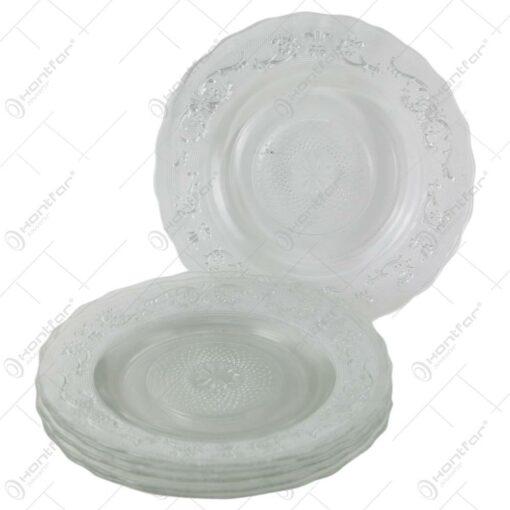 Set 6 farfurii din sticla transparenta 25 CM