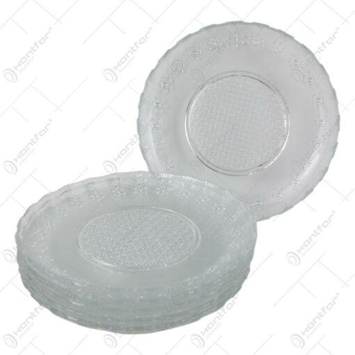 Set 6 farfurii din sticla transparenta 19 CM