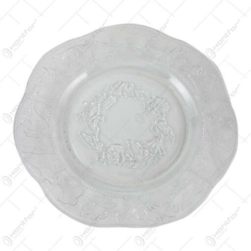 Set 3 farfurii din sticla transaprenta Trandafiri 25 CM