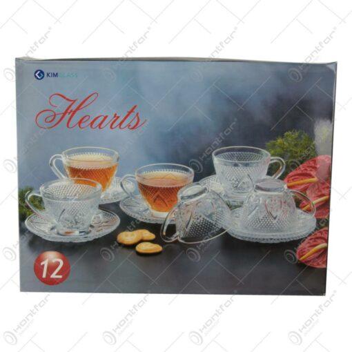 Set 6 cesti cu farfurii din sticla transparenta Hearts
