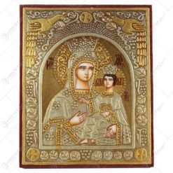 Icoana din lemn si metal Maria cu Isus 18x22 CM