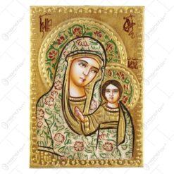 Icoana din lemn si metal Maria cu Isus 10x14 CM