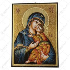 Icoana din lemn si metal Maria cu Isus/Rastignirea Domnului 21x29 CM