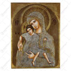 Icoana din lemn si metal Maria cu Isus/Sfantul Nicolae 30x40 CM