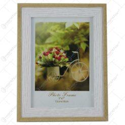 Rama foto din plastic - Dim.poza 13x18 cm - Suport flori bicicleta maro/alb