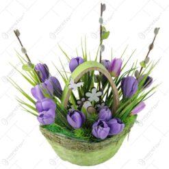 Cos decorativ de Paste cu flori 30 CM