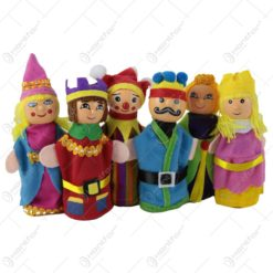 Set 6 marionete pentru degete din panza si lemn 12 CM