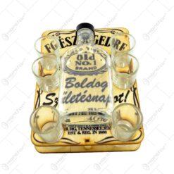 Set 6 pahare cu sticla pentru whiskey - Boldog Szuletesnapot