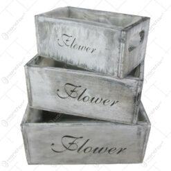 """Set 3 ladite ghiveci din lemn """"Flower"""" Vintage"""