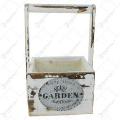 """Ghiveci din lemn cu maner """"Sweet Home Garden"""" 15 CM"""
