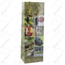 Punga cadou pentru bautura 12x36 - Design colaj struguri alb