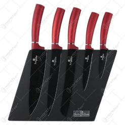 Set 5 cutite cu suport magnetic Burgundy