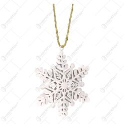 Ornament decorativ pentru brad realizat din metal - Fulg De Nea - Alb (7x8 CM)