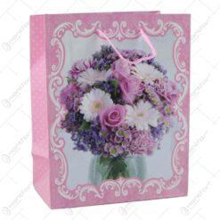 Punga cadou din hartie 18x23 CM - Design Buchet de flori