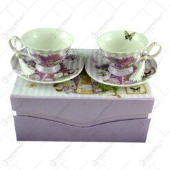 Set 2 cesti cu farfurii realizate din ceramica in cutie decorativa - Beautiful Lavanda (Model 2)