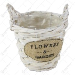 "Ghiveci din rachita cu  manere ""Flowers & Garden"" 15 CM"