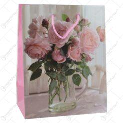 Punga cadou din hartie 18x23 CM - Design Pink roses
