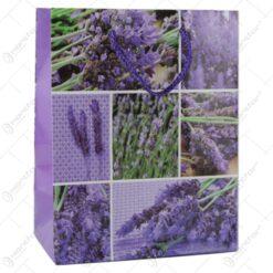 Punga cadou din hartie 18x23 CM - Design Lavender colaj