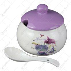 Zaharnita cu lingurita si capac din ceramica 510 ml