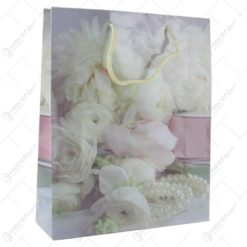 Punga cadou din hartie 26x32 CM - Design White roses