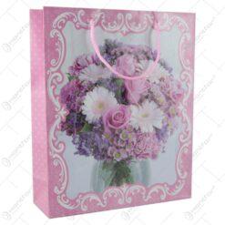 Punga cadou din hartie 26x32 CM- Design Buchet de flori