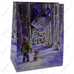 Punga cadou Craciun din hartie 18x23 CM- Design cu peisaj de iarna