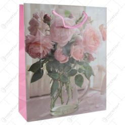 Punga cadou din hartie 26x32 CM - Design Pink roses