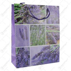 Punga cadou din hartie 26x32 CM - Design Lavender colaj