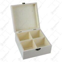 Cutie din lemn pentru ceai cu 4 compartimente 15x15 CM - Hobby
