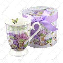 Cana din ceramica in cutie decorativa - Beautiful Lavanda