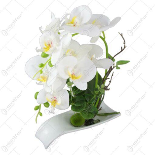 Orhidee artificiala in suport ceramic 32 CM