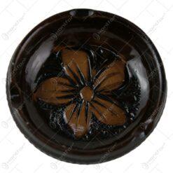 Scrumiera din ceramica lacuit si gravat cu motive florale 7 CM