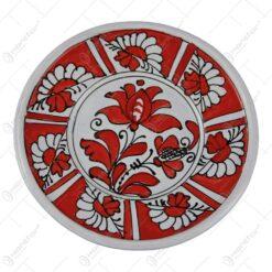 Farfurie decor din ceramica si pictat cu motive populare 14 CM