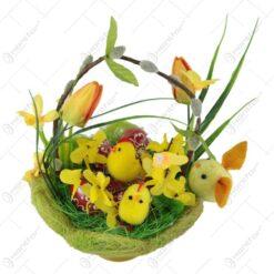 Cos decorativ de Paste cu oua din lemn si puisori 18 CM