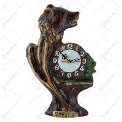 Placheta din ipsos cu ceas reprezentand un urs 35 CM