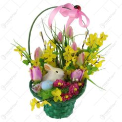 Cos decorativ de Paste cu flori si iepuras/miel 35 CM
