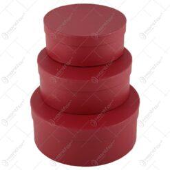 Set 3 cutii rotunde cu capac - Rosu