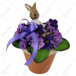 Ghiveci decorativ de Paste cu Violeta si iepuras 20 CM