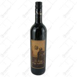 """Vin rosu 0.75 ml cu eticheta din pluta """"Jo"""