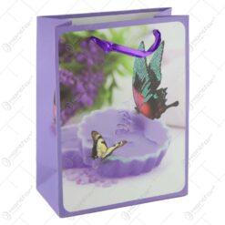 Punga cadou din hartie 18x21 CM - Design Lumanare/Fluturi
