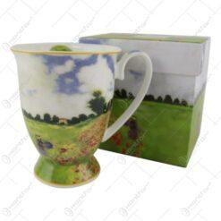 "Cana portelan 300 ml ""Camp cu maci"" de Claude Monet in cutie decorativa"